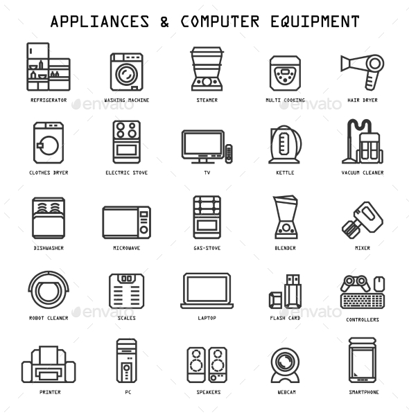 Household Appliances Icons - Computers Technology