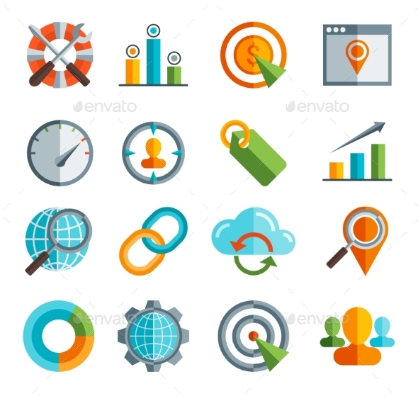 Business, SEO, Social Media Marketing Icons - Web Technology