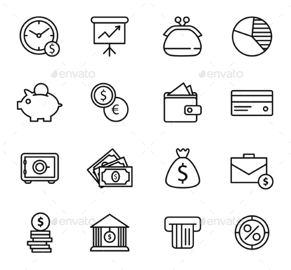 Finance and Bank Icon Set - Retail Commercial / Shopping