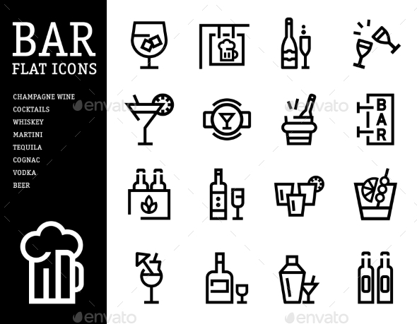 Alcohol and Bar Icon Set - Web Technology
