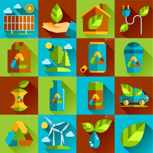 Ecology and Waste Flat Icons Set - Web Technology