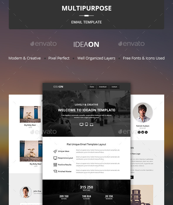 IdeaOn - Multipurpose Email Template - E-newsletters Web Elements