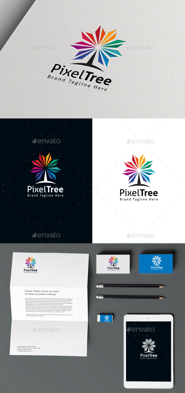 Pixel Tree - Nature Logo Templates