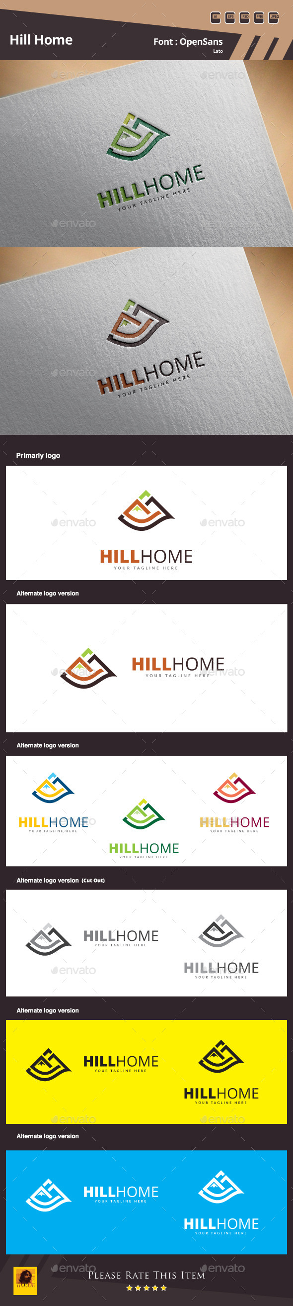 Hill Home Logo Template - Buildings Logo Templates