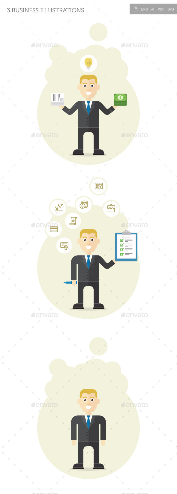 3 Business Illustrations - Business Conceptual