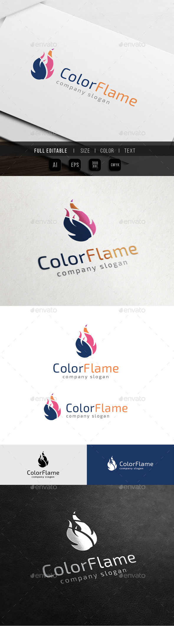 Color Flame - Fire Media - Objects Logo Templates