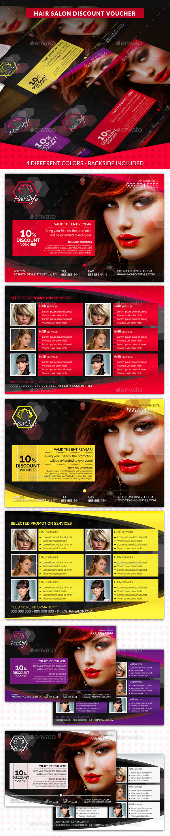 Hair Salon Fashion Style Discount Voucher - Cards & Invites Print Templates