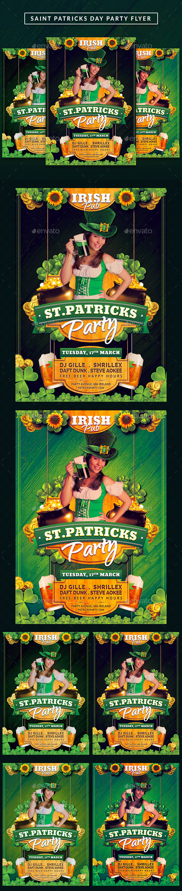 Saint Patricks Celebration Day Flyer - Clubs & Parties Events