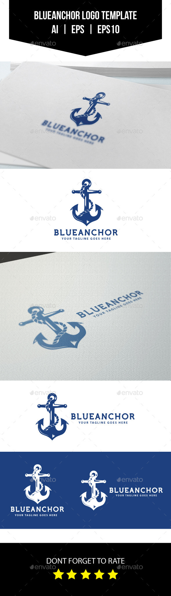 Blue Anchor Logo Template - Objects Logo Templates