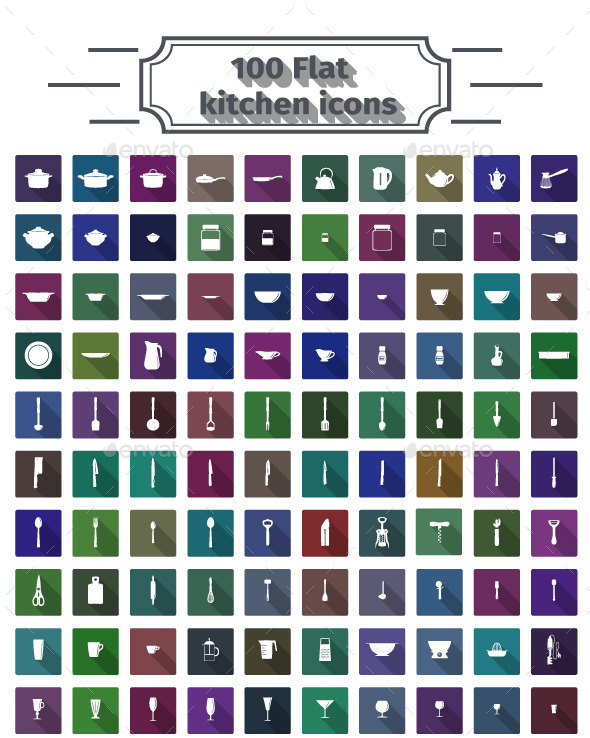 100 Flat Kitchen Icons - Food Objects