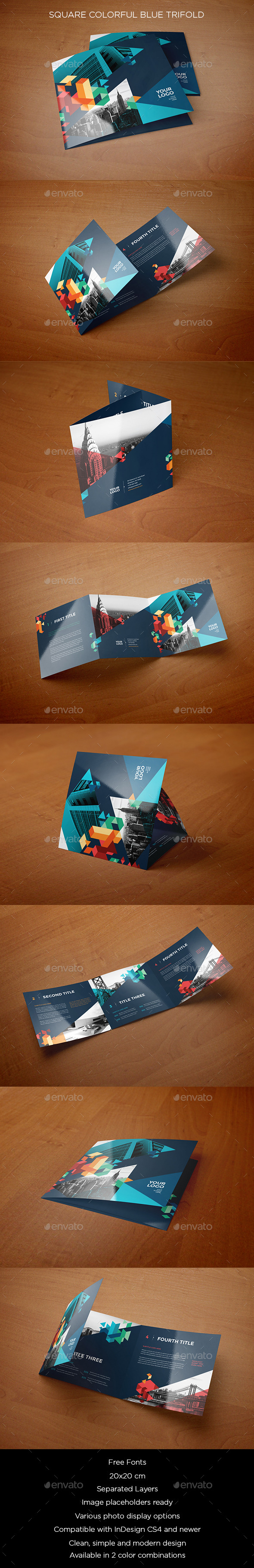 Square Colorful Blue Trifold - Brochures Print Templates