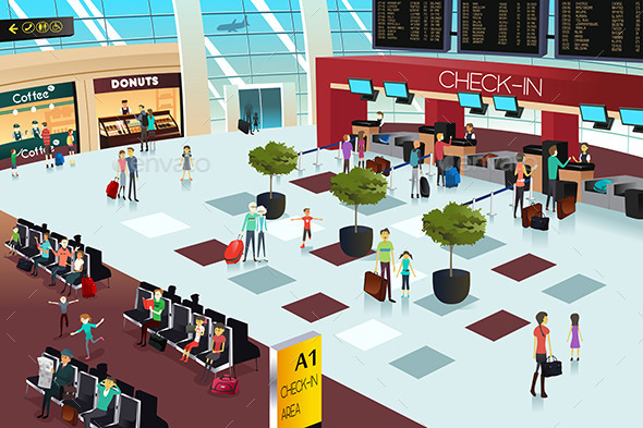 Inside of an Airport  - People Characters