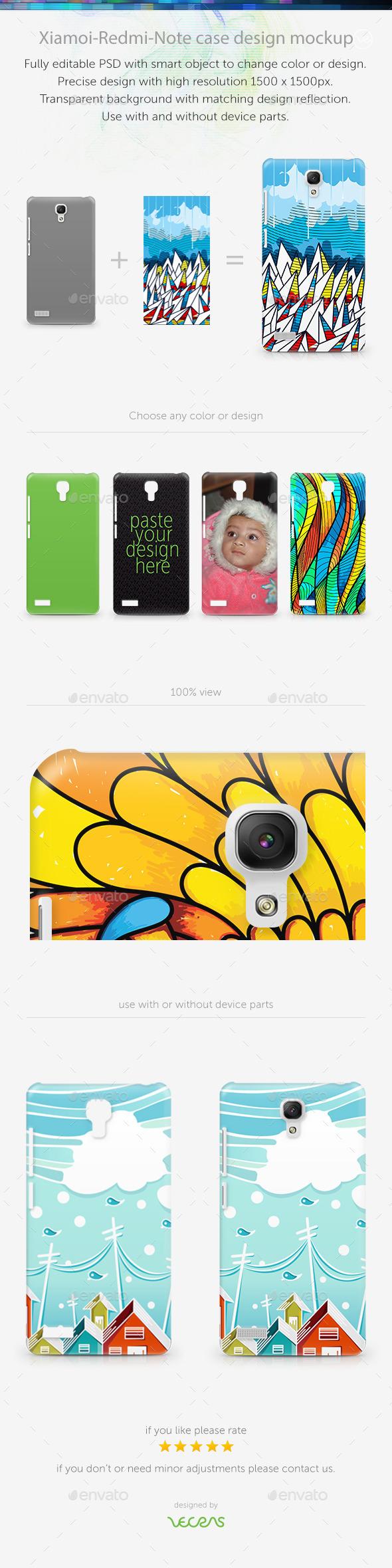 Xiamoi-RedMi-Note Case Design Mockup - Mobile Displays