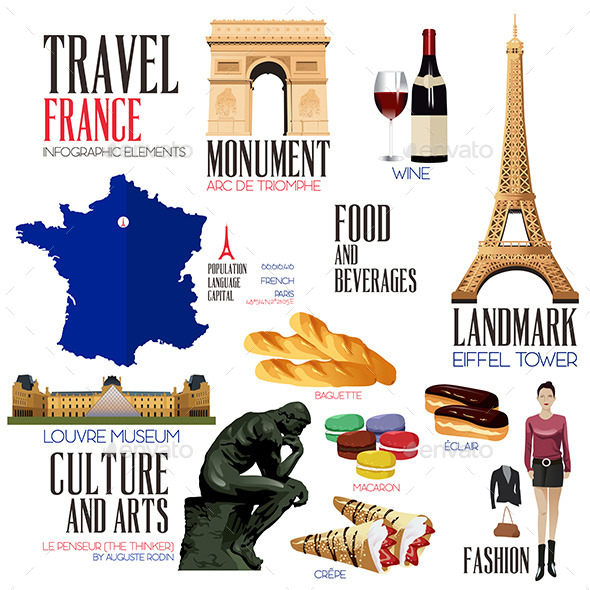 Infographic Elements for Traveling to France - Objects Vectors