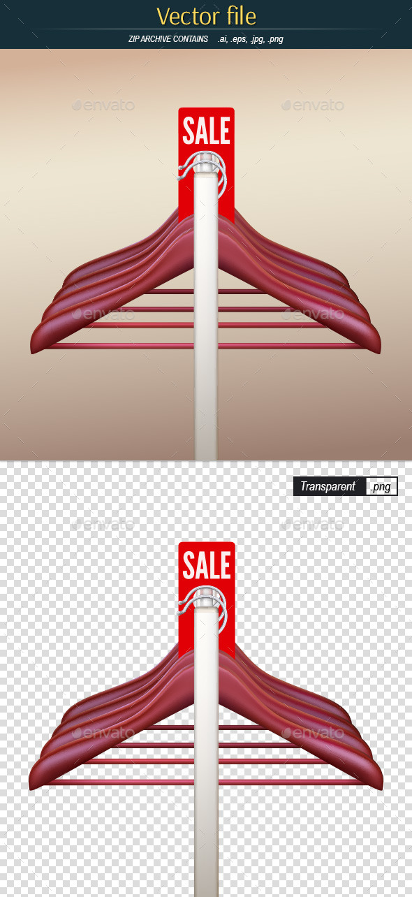 Hangers on the Rack with Red Label - Commercial / Shopping Conceptual