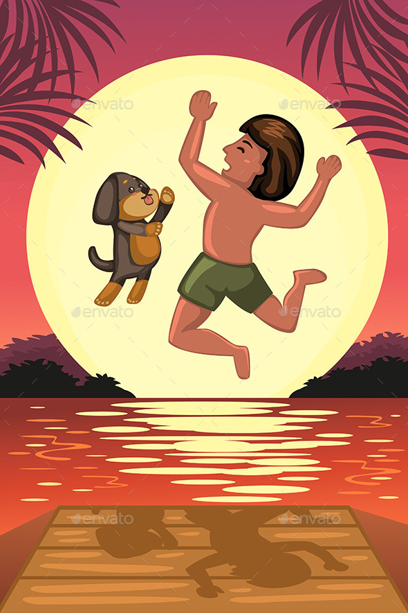 Boy and his Dog Jumping off the Dock - People Characters