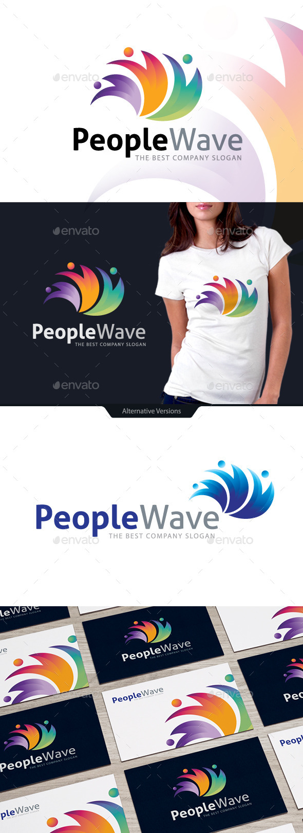 People Wave - Letters Logo Templates