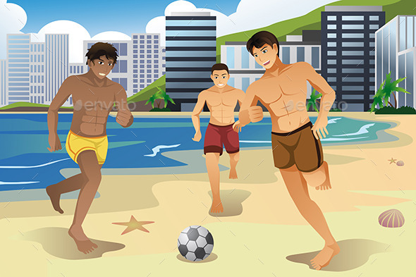 Men Playing Soccer on the Beach  - Sports/Activity Conceptual