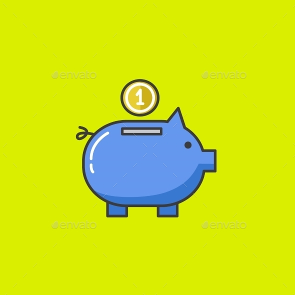 Piggy Bank Vector Icon - Business Icons