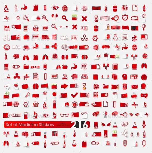 Set of Medicine Stickers - Health/Medicine Conceptual