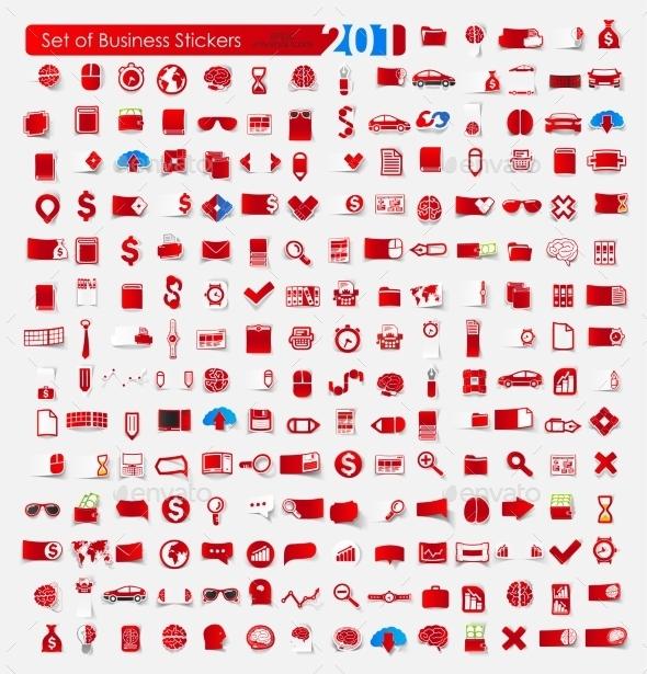 Set of Business Stickers - Web Elements Vectors