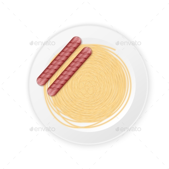 Spaghetti Cream Sauce with Sausage - Food Objects