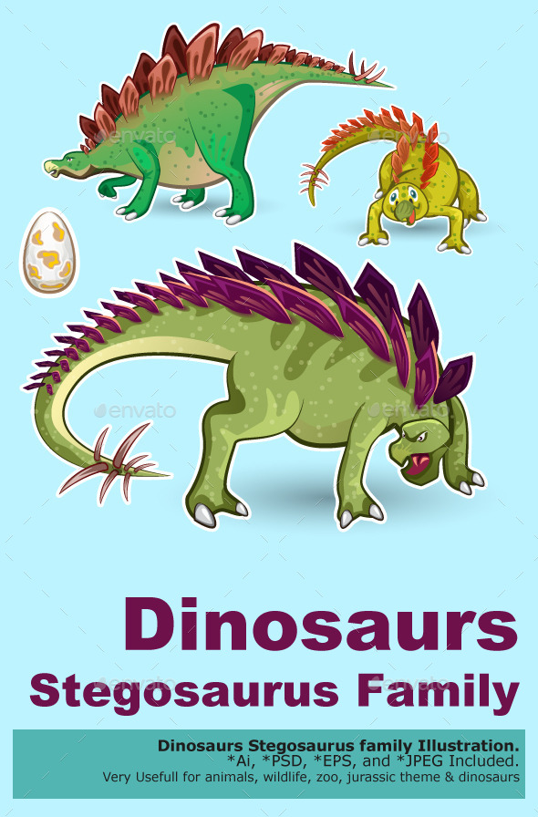 Stegosaurus Dinosaurs Sticker Collection Set - Animals Characters