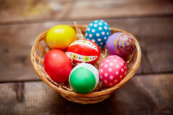 Basket with painted eggs - Stock Photo - Images