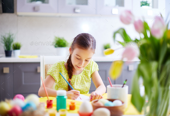 Girl painting - Stock Photo - Images