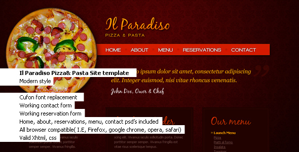 Free Download Il Paradiso, Pizza & Pasta Restaurant HTML+CSS Nulled Latest Version