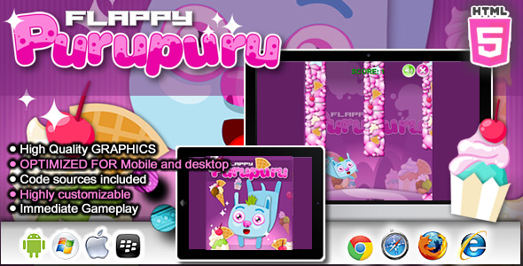 Flappy Purupuru - HTML5 Game - CodeCanyon Item for Sale