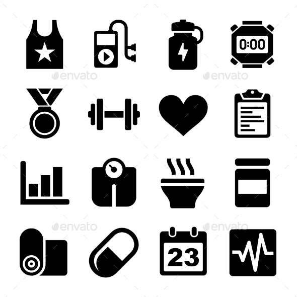 Fitness and Health Icons Set - Miscellaneous Icons