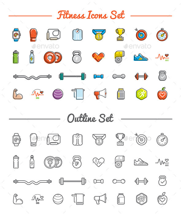 Great 30+30 Vector Fitness/Gym Icons Set - Icons