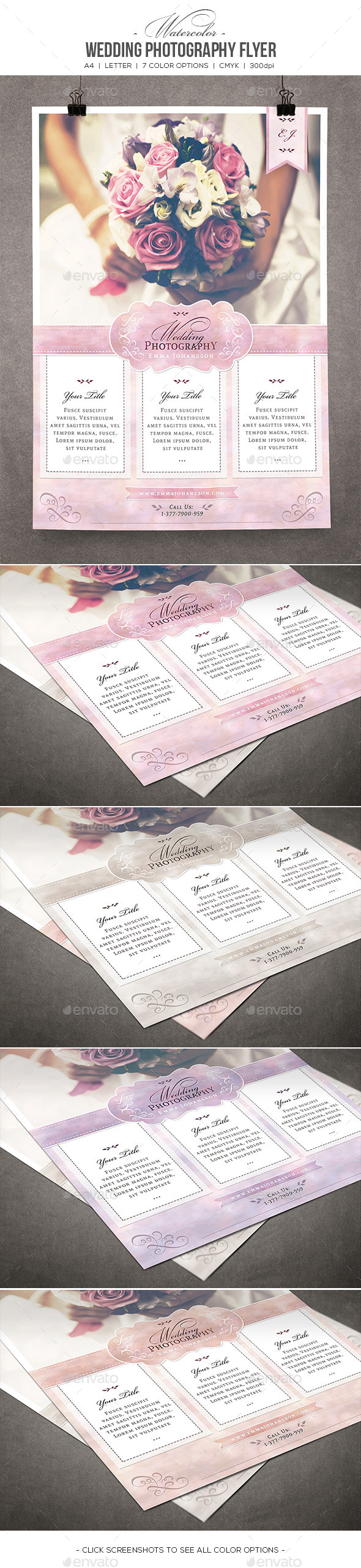 Watercolor Wedding Photography Flyer - Commerce Flyers
