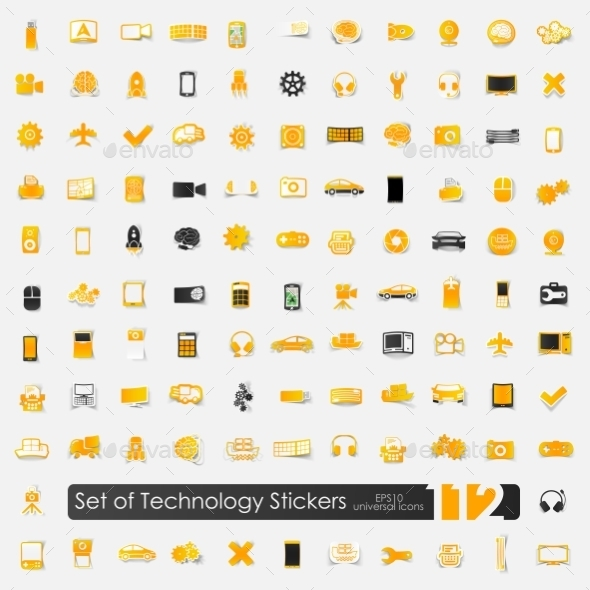 Set of Technology Stickers - Web Elements Vectors