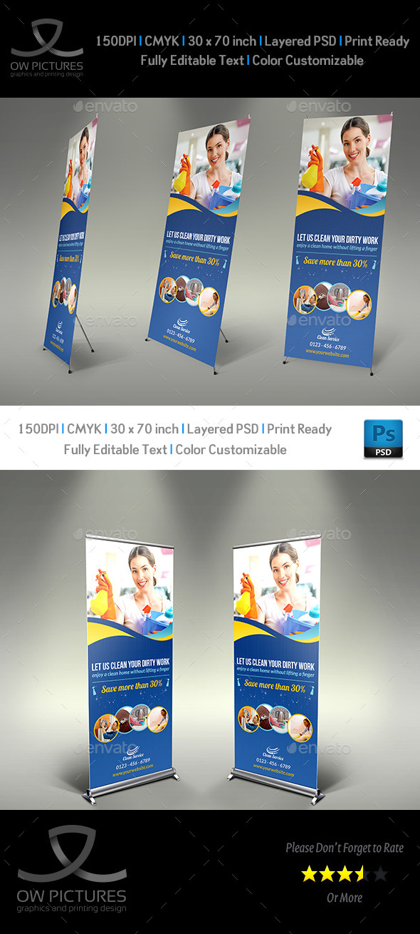 Cleaning Services Signage Roll Up Template Vol.2 - Signage Print Templates