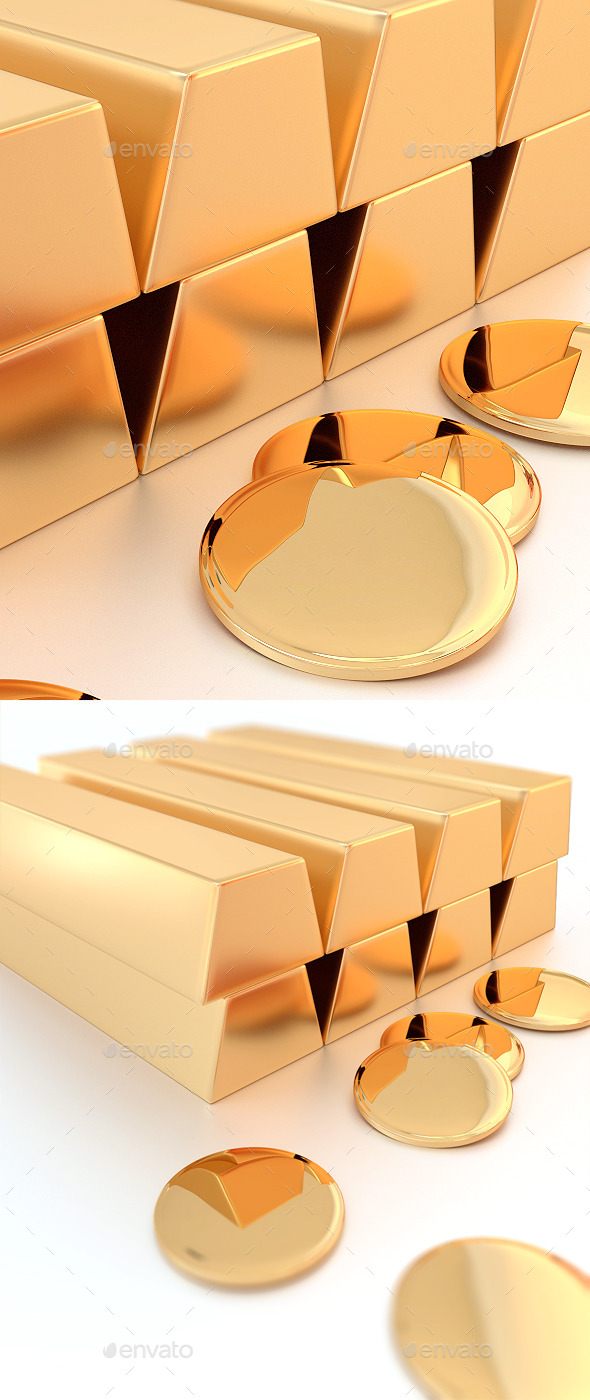 Golden Bars - Objects 3D Renders