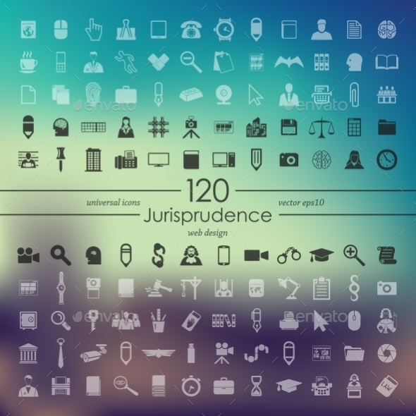 Set of Jurisprudence Icons - Web Elements Vectors