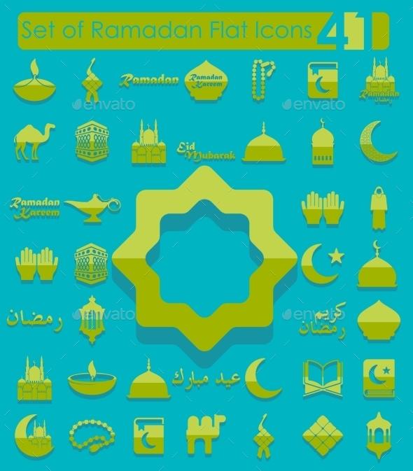 Set of Ramadan Flat Icons - Web Elements Vectors