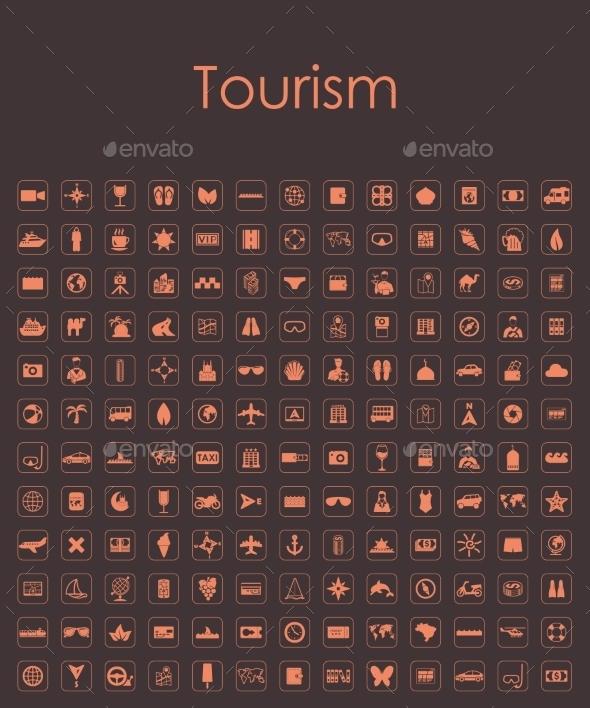 Set of Tourism Simple Icons - Web Elements Vectors