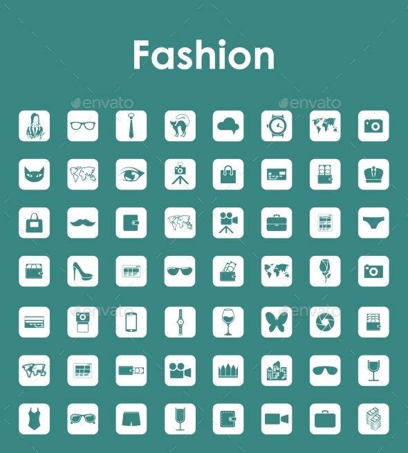 Set of Fashion Simple Icons - Web Elements Vectors
