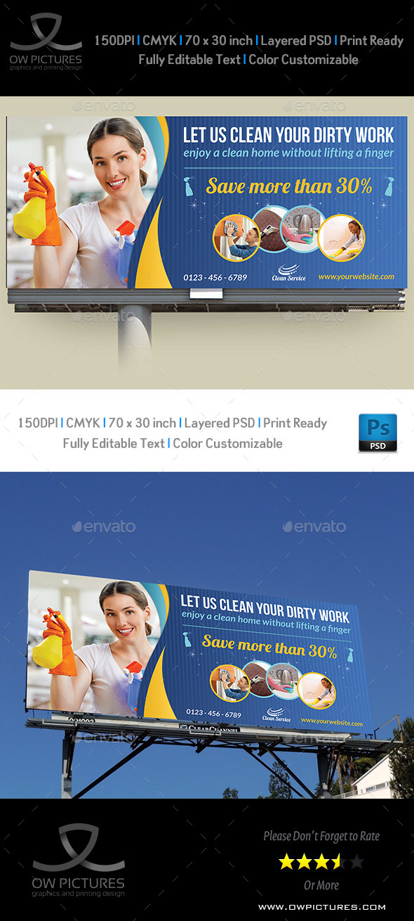 Cleaning Services Billboard Template Vol.2 - Signage Print Templates