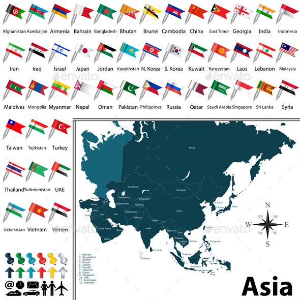 Political Map of Asia - Travel Conceptual