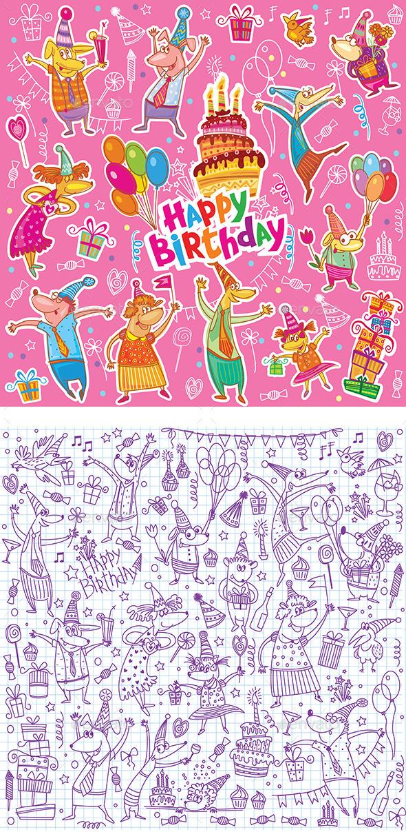 Birthday Sketch Set - Birthdays Seasons/Holidays