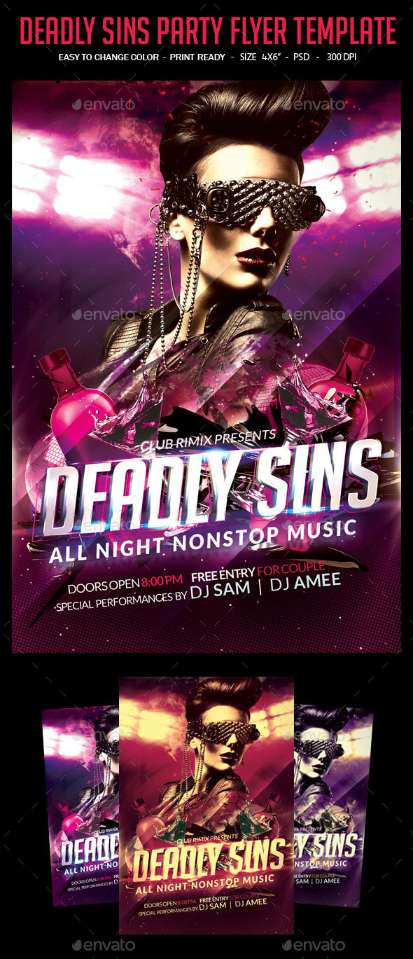 Deadly Sins Party Flyer Template - Clubs & Parties Events