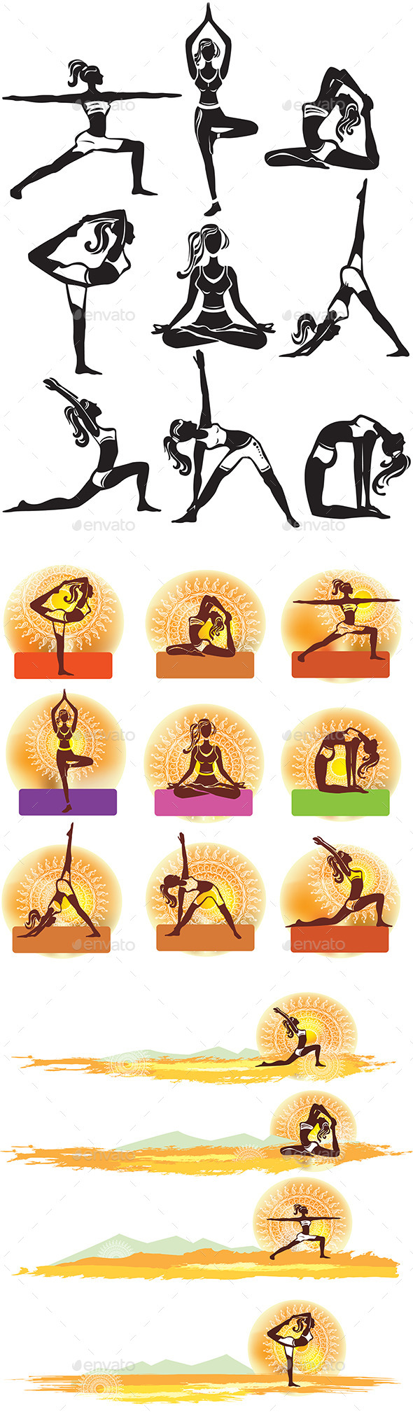Set of Meditating and Doing Yoga Poses - People Characters