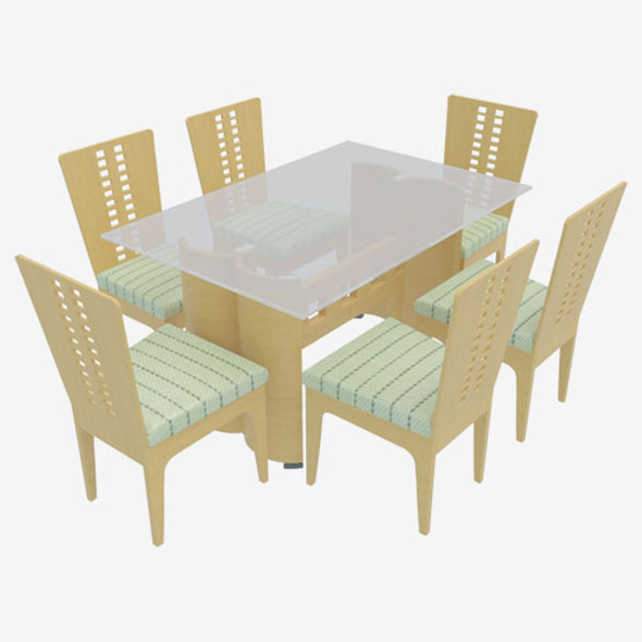 Dining Table With Chairs-3 - 3DOcean Item for Sale