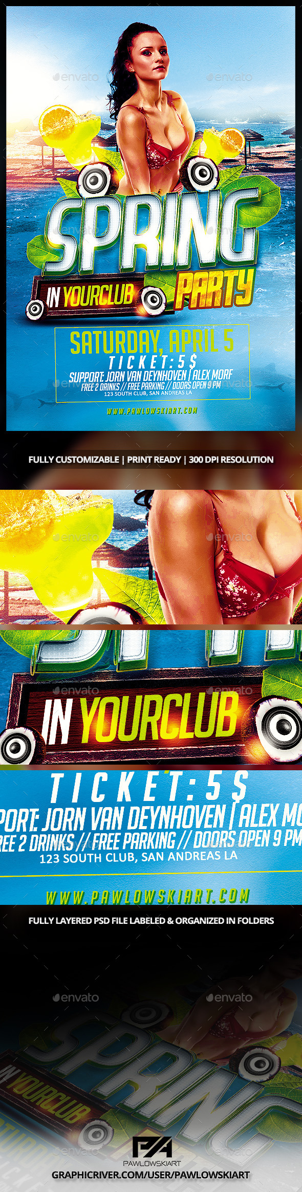 Spring Party Flyer PSD Template - Events Flyers