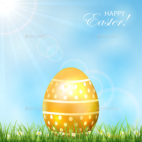 Golden Easter Egg in Grass - Backgrounds Decorative