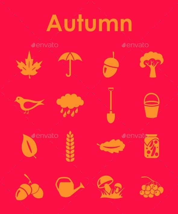 Set of Autumn Icons - Web Elements Vectors